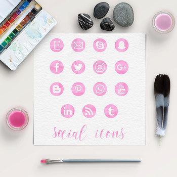 Pink Watercolor Social Icons Social Media Icons Web Design Blog Png Files
