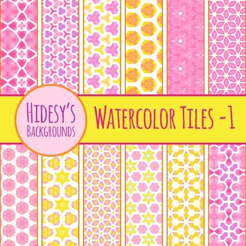 Pink Watercolor Tiles Backgrounds Clip Art Pack for Commer