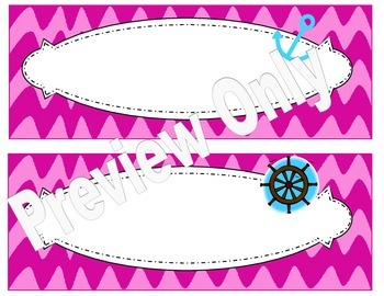 Pink Wavy Chevron Nautical Name Plates