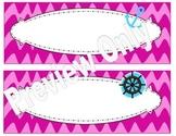 Pink Wavy Chevron Nautical Name Plates