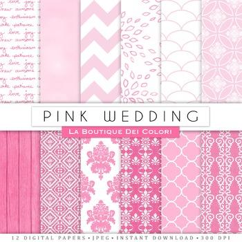 Pink Wedding Digital Paper, scrapbook backgrounds