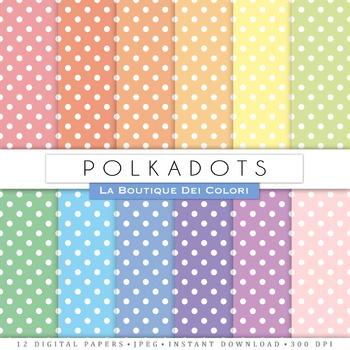 Pastel Polkadots Digital Paper, scrapbook backgrounds
