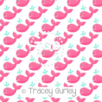 Pink Whale Pattern Repeat on White digital paper Printable Tracey Gurley Designs