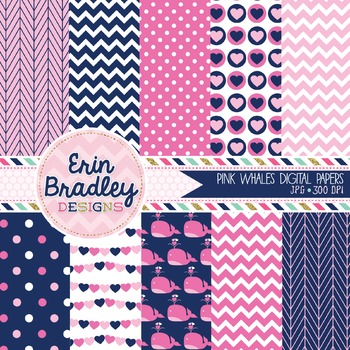 Pink Whales Digital Paper Pack