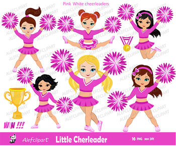 Pink & White Cheerleader Digital Clipart Set for -Personal and Commercial Use