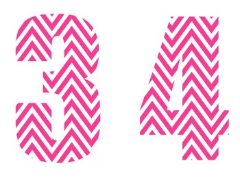 Pink & White Chevron Numbers