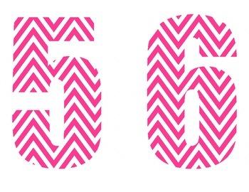 Pink & White Chevron Numbers
