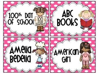 Pink & White Polkadot Classroom Library Labels