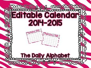 Pink & White Zebra Editable Calendar 2014-2015