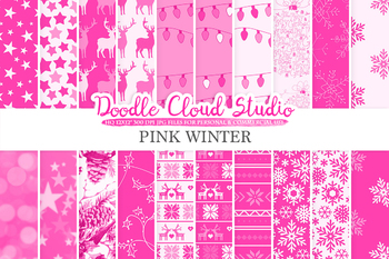 Pink Winter digital paper, Christmas Holiday patterns, Stars, Snow, Snowflakes