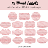 Pink Wood Labels, Pink Tags, Wooden Frames