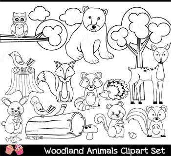 Pink Wood land Woodland Animals Clipart Set