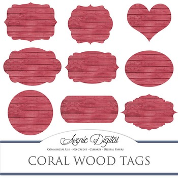 Pink Wood tags clip art Scrapbook printable red wedding fr