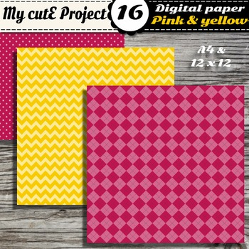 "Pink & Yellow DIGITAL PAPER - Scrapbooking- A4 & 12x12"" - Stripes..."