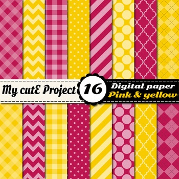 "Pink & Yellow DIGITAL PAPER - Scrapbooking- A4 & 12x12"" -"
