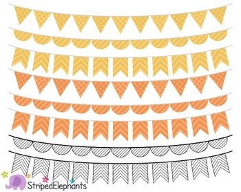 Pink, Yellow, Orange and Black Bunting Clipart