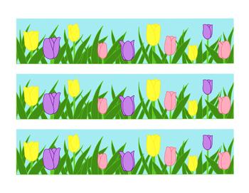 Pink Yellow Purple Tulip Bulletin Board Border Printable Spring Flowers