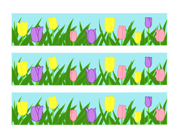 graphic about Printable Bulletin Board Borders referred to as Purple Yellow Pink Tulip Bulletin Board Border Printable Spring Bouquets