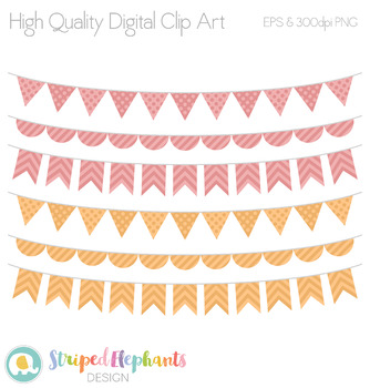 Pink and Orange Bunting Clipart