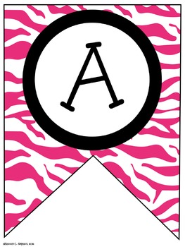 Pink Zebra Classroom Pennants and Bunting (Letters, Numbers, Punctuation)