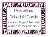 Pink Zebra Daily Schedule Clock Cards