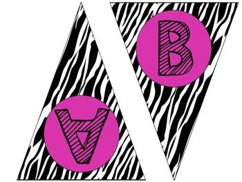 Pink Zebra Word Wall Pennant