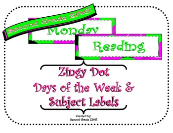 Pink Zingy Dot Days of Week and Subject Labels