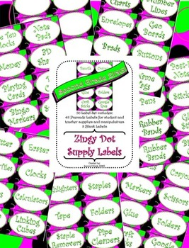 Pink Zingy Dot Supply Labels