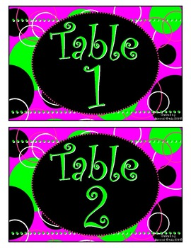 Pink Zingy Dot Table Signs