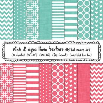 Pink and Aqua Digital Paper, Linen Texture Patterns Digita