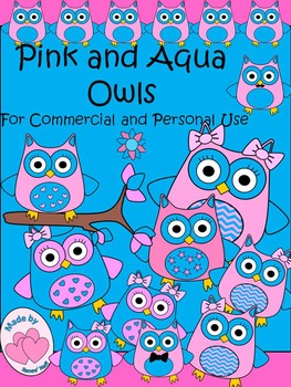 Pink and Aqua Observant Owls