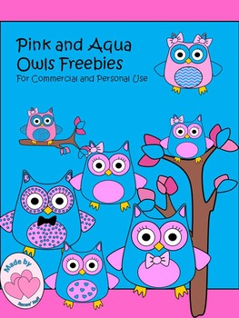 Pink and Aqua Observant Owls for Personal and Commercial Use Freebies