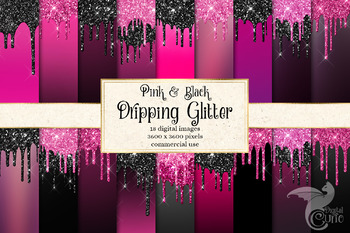 Pink and Black Dripping Glitter Digital Paper