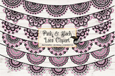 Pink and Black Lace Banner Clipart