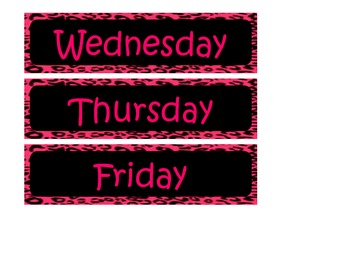Pink and Black Leopard Days of the week