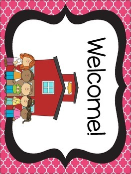 Black and Pink Quatrefoil Classroom Theme Kit- Now with Editable File!