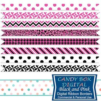 Pink and Black Ribbon Border Clip Art