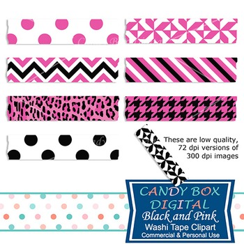 Pink and Black Washi Tape Clip Art
