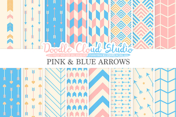 Pink and Blue Arrows digital paper, pink and azure Arrow patterns.