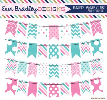 Pink and Blue Bunting Clipart