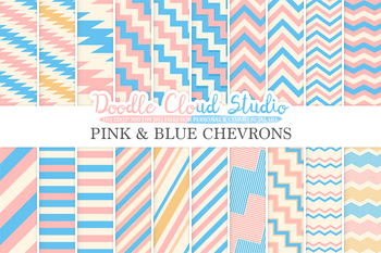 Pink and Blue Chevron digital paper, Chevron and Stripes  pattern, tribal