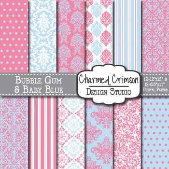 Pink and Blue Damask Digital Paper 1329