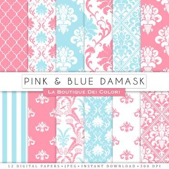 Pink and Blue Damask Digital Paper, scrapbook backgrounds