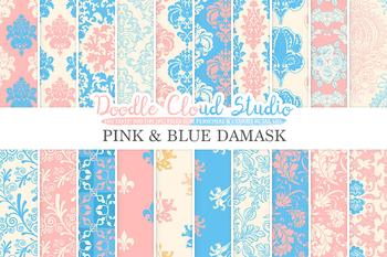 Pink and Blue Damask digital paper, Swirls patterns, Digital Floral Damask