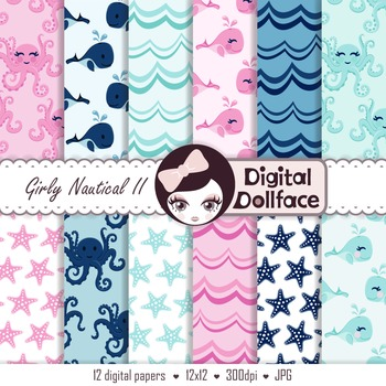 Pink and Blue Digital Paper, Whale, Octopus, Starfish & Waves Background