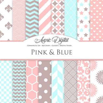 Pink and Blue Digital Paper patterns - bright color scrapbook backgrounds