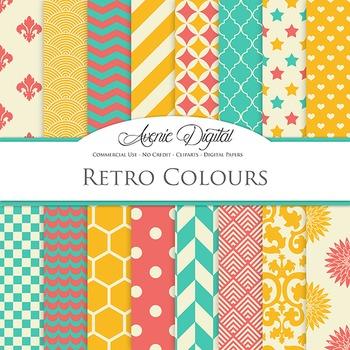 Vintage Digital Paper patterns - retro bright color scrapbook backgrounds