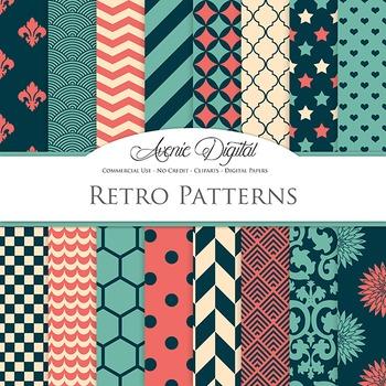 Retro Digital Paper patterns - bright hipste color scrapbook backgrounds