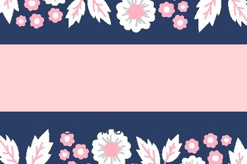 Pink and Blue Floral Blank Editable Labels Flashcards