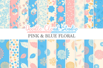 Pink and Blue Floral digital paper, Floral patterns, Flowers, Dhalia, Leaves.
